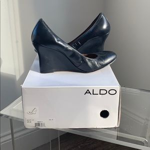 ALDO black leather round toe wedge